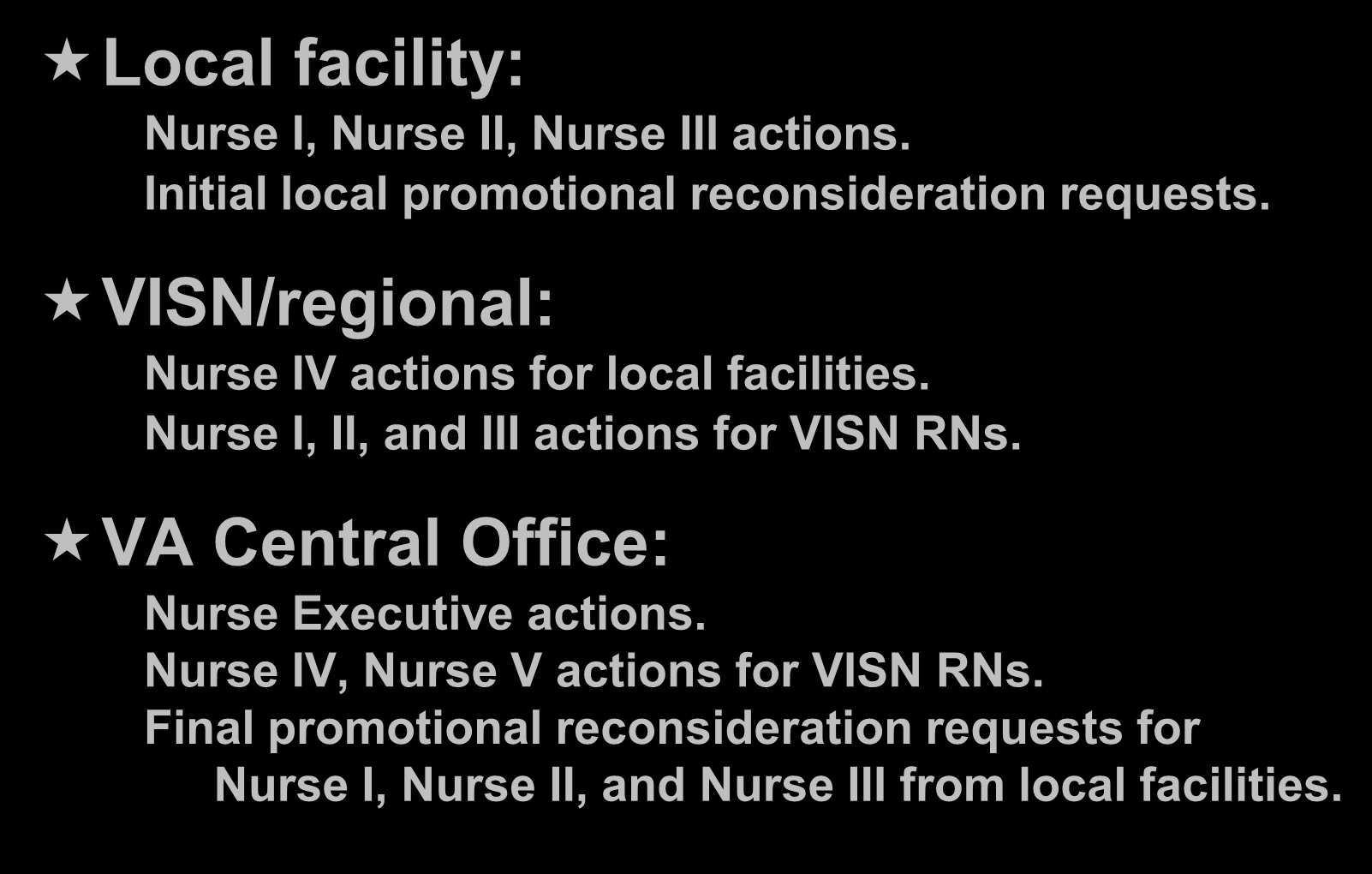 Three Levels of NPSB Local facility: Nurse I, Nurse II, Nurse III actions. Initial local promotional reconsideration requests. VISN/regional: Nurse IV actions for local facilities.
