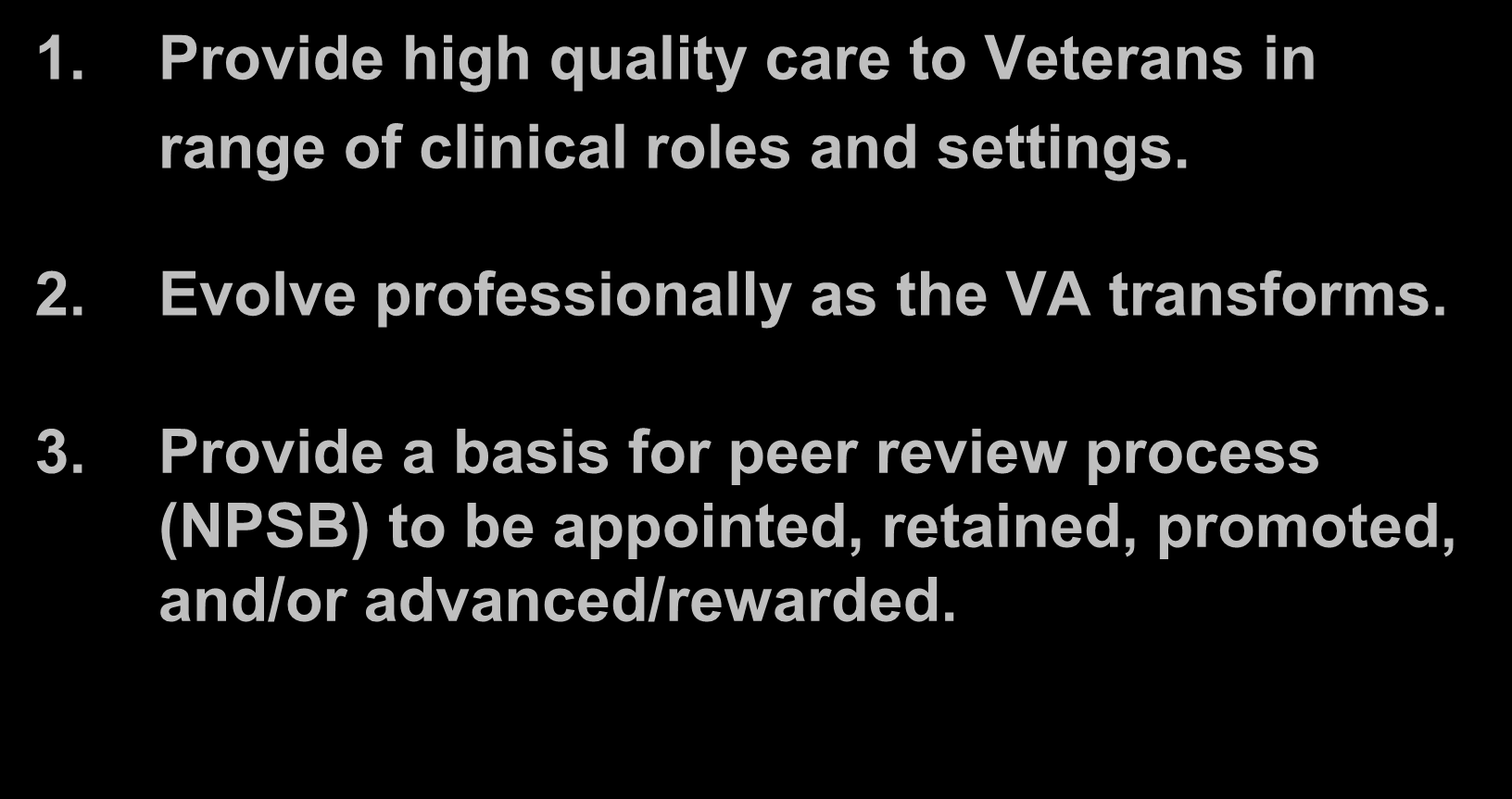 Qualification Standard Exists To Support VA RNs 1. Provide high quality care to Veterans in range of clinical roles and settings. 2.