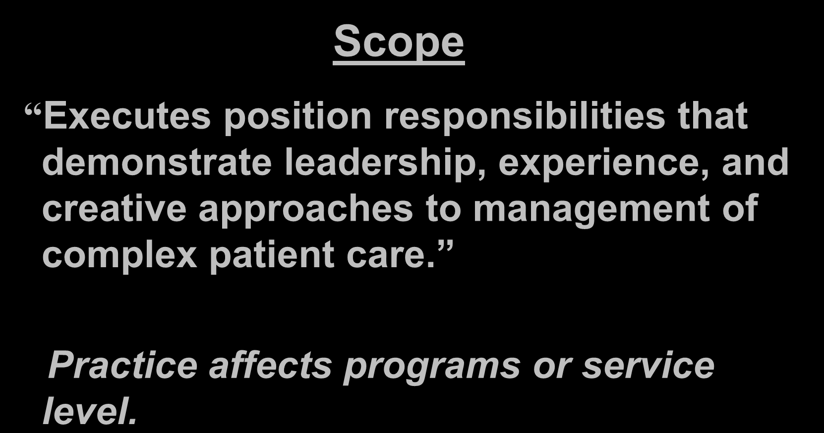 Nurse III Scope Executes position responsibilities that demonstrate leadership, experience, and