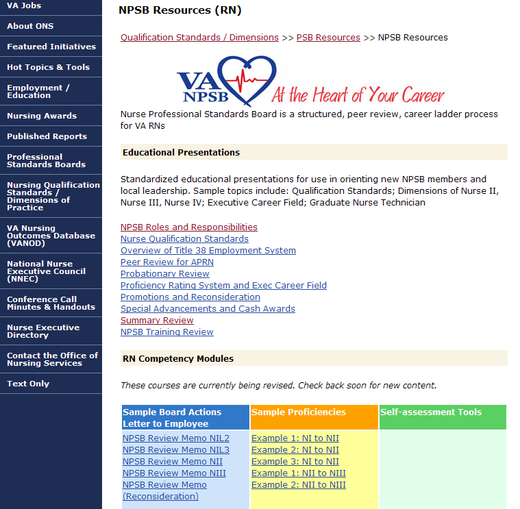NPSB (RN) Resources Page Access to Educational