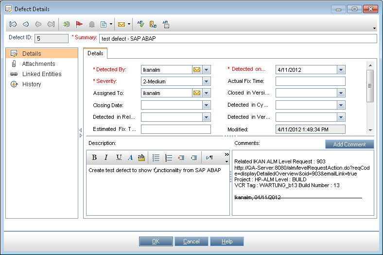 This is an optional action of the IKAN ALM Issue Tracking process.
