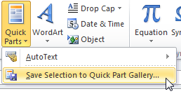Saving and using Quick Parts to deal with common queries The steps below show you how to Devise the parts, Create the Quick Parts, Use Quick Parts and Manage Quick Parts. 1.