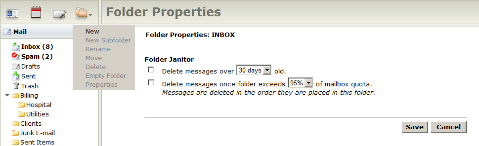 Folder Janitor Properties Page To use the Folder Janitor: 1. Select the desired folder 2. In the Folder Actions menu, click Properties. 3. Choose the options you wish to use, then click Save. 4.
