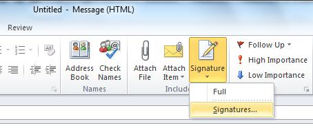 Putting a signature into Outlook 2010 Create a new email, then on the Message tab, click the triangle beneath the Signature option and choose Signatures from the drop down menu.