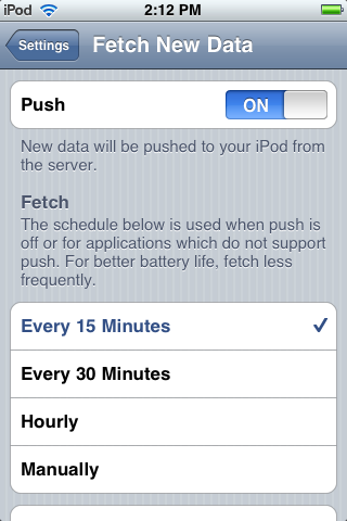 Change Your Push Setting Push mode is the default setting on your device. You may, however, wish to temporarily suspend Push service if you are outside a service area or wish to conserve battery life.