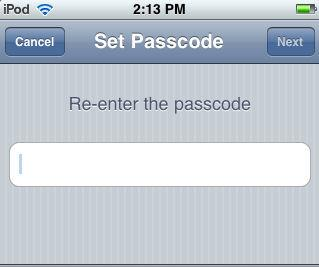 2. Enter a passcode, then re-enter it to confirm.