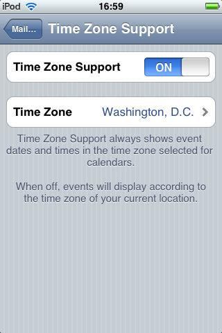 If the setting is OFF, events display according to the time zone of your current location as determined by the network time, which changes automatically based on the user s geographic location.