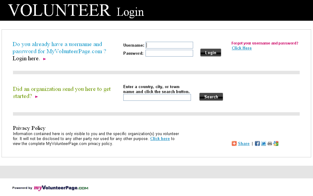 SECTION 1 - GETTING READY TO USE VOLUNTEER IMPACT If you forget your username and/or password, click on the Click Here link below