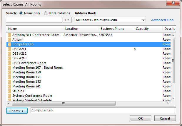 Room Finder To assist with the entry of a location, you can use the Outlook Room Finder command on the Meeting Ribbon, if available.
