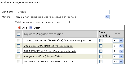 Managing Policies 3. Select a weight for each expression in the list from the drop-down lists in the Score column, as shown in figure 3-8 below. FIGURE 3-8. Weighting keyword expressions 4.