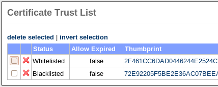 12 CERTIFICATE TRUST LIST Figure 30: Open Certificate Trust List Figure 31: Certificate Trust List Add CTL entry on the left hand side menu.