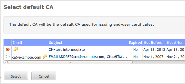 13.5 Select default CA 13 CERTIFICATE AUTHORITY (CA) Figure 38: Select default CA SMS password If the SMS password checkbox is checked the password for the protected certificate and private key file