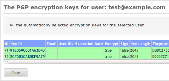 15 PDF ENCRYPTION Figure 51: PGP encryption keys menu Figure 52: PGP encryption keys 2. The key must be trusted 3. The key must not be expired 4. The key must not be revoked 5.