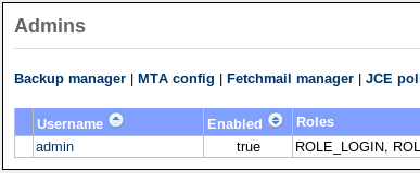 25.1 Fetchmail manager 25 FETCHMAIL Figure 71: Proxy configuration 25.1 Fetchmail manager When Fetchmail support is enabled a Fetchmail manager option is added to the admins menu (see figure 72).