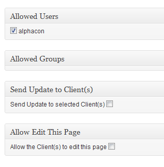 Figure 10: Setting the Permissions for Client Pages Sending Email Updates to Client Pages Menu: Hub Pages > Client Title > Edit To send an email