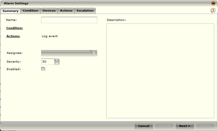 7. When this window appears, you will need to complete the following Sections: Name, Assignee, Severity, and Enabled.
