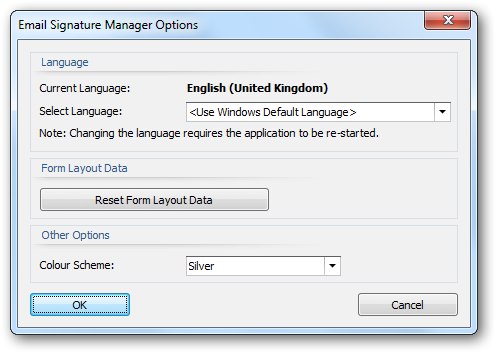 The following settings can be modified: Language: Allows you to specify the language used by the application.