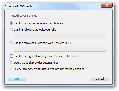 Advanced EWS Settings The Advanced EWS (Exchange Web Services) Settings dialog is opened by clicking the Advanced Settings... button on the Deployment Options dialog.