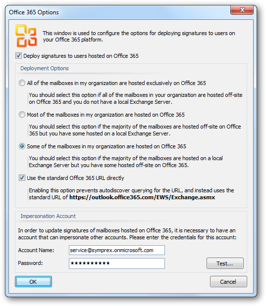 This window is used to configure deployment of signatures to your Office 365 platform.