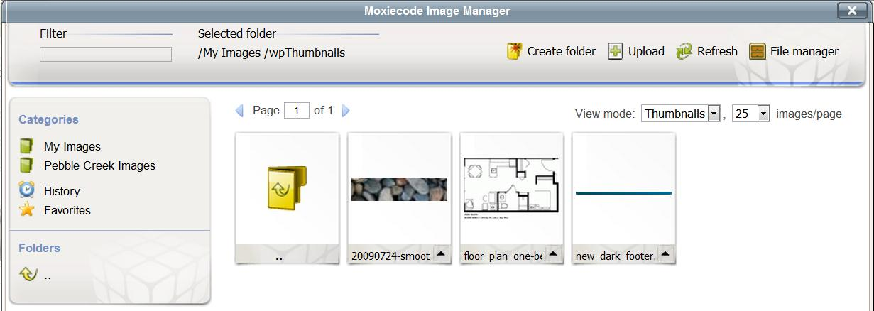 5. Click on the Thumbnail image that you want to insert.