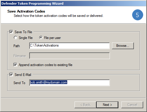 Sending an Activation Code by Email With this feature enabled a Send E-Mail checkbox and Send To field are available on the Defender Token Programming Wizard, Save Activation Codes dialog.