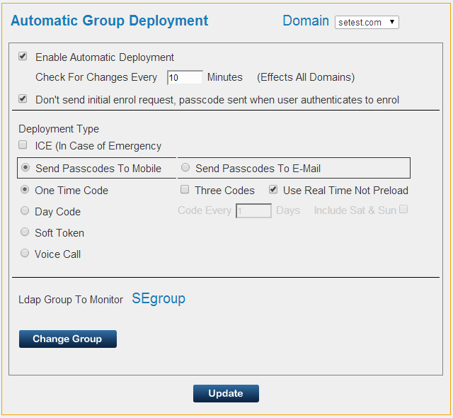 7.3 Automatic Group Deployment The Automatic Group Deployment is an embedded feature that allows simple ongoing provisioning of users, a dedicated group of users (only one group per domain is
