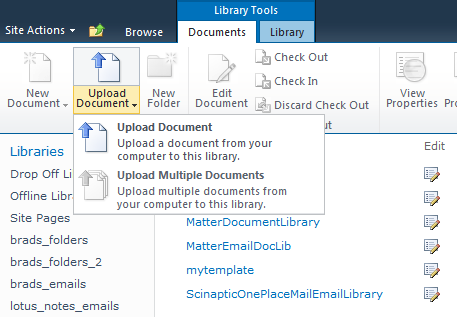 Configuring SharePoint Libraries for Email Metadata Colligo provides a sample list template file that can be used to create a sample testing document library.