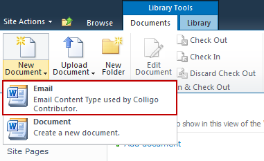 5. Under the Library Tools > Documents ribbon, click the New Document