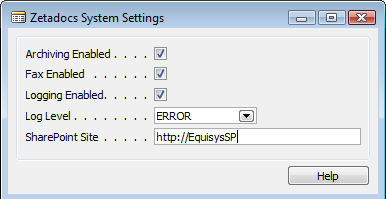 Configuring Zetadocs for NAV: Basic Configuration SharePoint Site o To be used in conjunction with Archiving Enabled, this setting should be the base URL address of your SharePoint installation