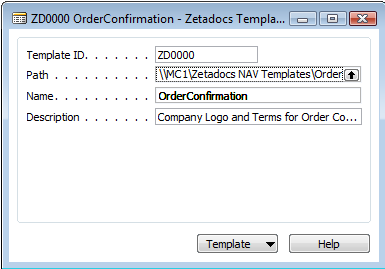 Configuring Zetadocs for NAV: Basic Configuration Figure 8 - Zetadocs Template Card (iv) Zetadocs Company Type The Zetadocs Company Type provides the ability to define a relationship between a