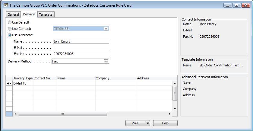 Configuring Zetadocs for NAV: Advanced Configuration Figure 23 - Level 3 rule shown on Customer Rule Card They have requested that Order Confirmations should instead go to John Emory by fax.