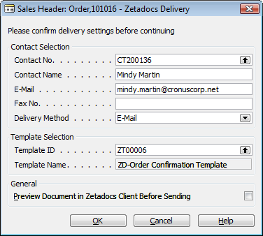 Send Any Report: Configured Send Figure 38 - Zetadocs Delivery Dialog 8.3 Configured Send It should be clear by now from the installation guide that by setting the Company Type Code, Company No.