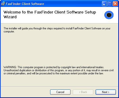 Chapter 2 FaxFinder Client Software Configuration To configure the FaxFinder Client Software, you must first install the software on a PC and then associate that installed client software with one or