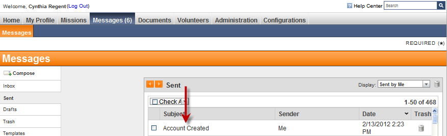 2. Select the Sent side tab on the left. 3. To view the details of a sent message, click the subject line of the message.