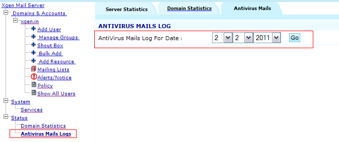 Status -> Dmain Statistics Server Admin can check the dmain statistics fr all f his/her dmains thrugh this windw.
