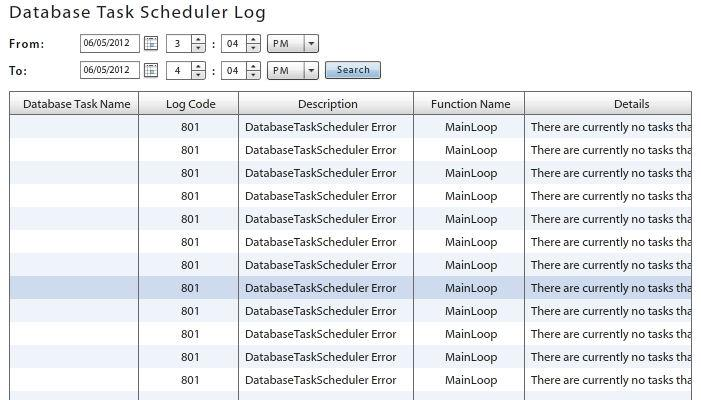 Database Task Scheduler Lg The Database Task Scheduler Lg enables the administratr t view all database cleanup jbs that executed successfully r that gave an errr.