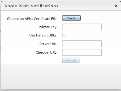 T Uplad the APNs Certificate: 1. Select System > Organizatin. 2. Click the Uplad buttn next t the APNs Certificate field. 3. Click the Brwse buttn, then navigate t and select the.
