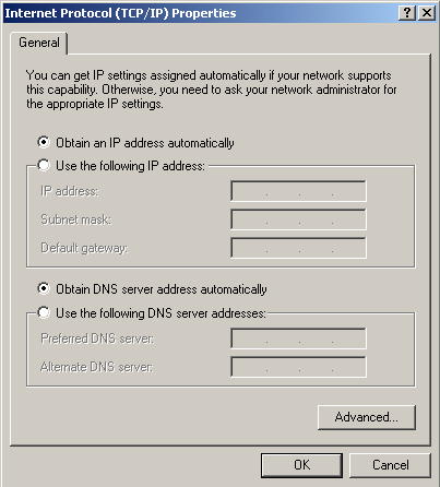 26 CHAPTER 3: SETTING UP YOUR COMPUTERS Figure 6 Local Area Properties Screen 6 Ensure that the options Obtain an IP Address automatically, and Obtain DNS
