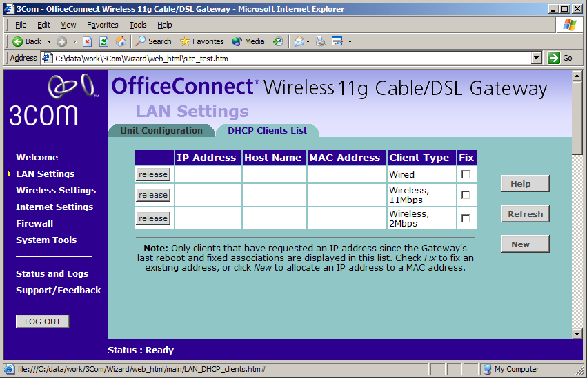 LAN Settings 45 The LAN Settings screen is used to specify the LAN IP address of your Gateway, and to configure the DHCP server.