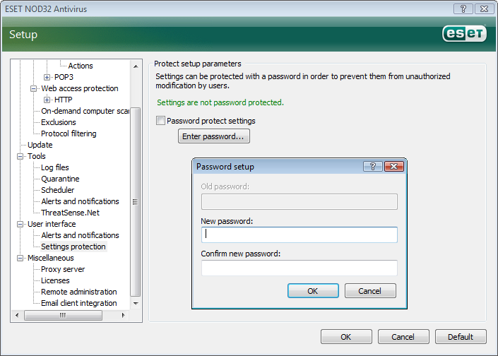 4.5.1 Log maintenance The Logging configuration of ESET NOD32 Antivirus is accessible from the main program window. Click Setup > Enter entire advanced setup tree... > Tools > Log files.