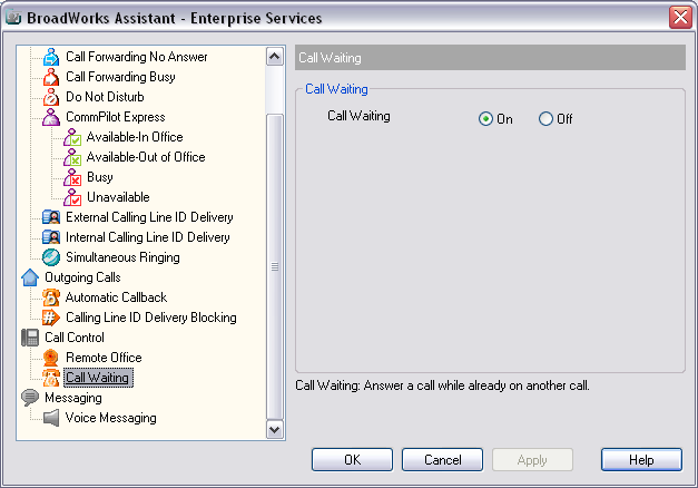3. Click Apply OR 1. To Activate Call Waiting through the Business Assistant Enterprise Toolbar, click on Services. 2.