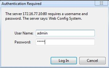 The GATEWAY Login Interface Default username and password: admin/admin, click OK to