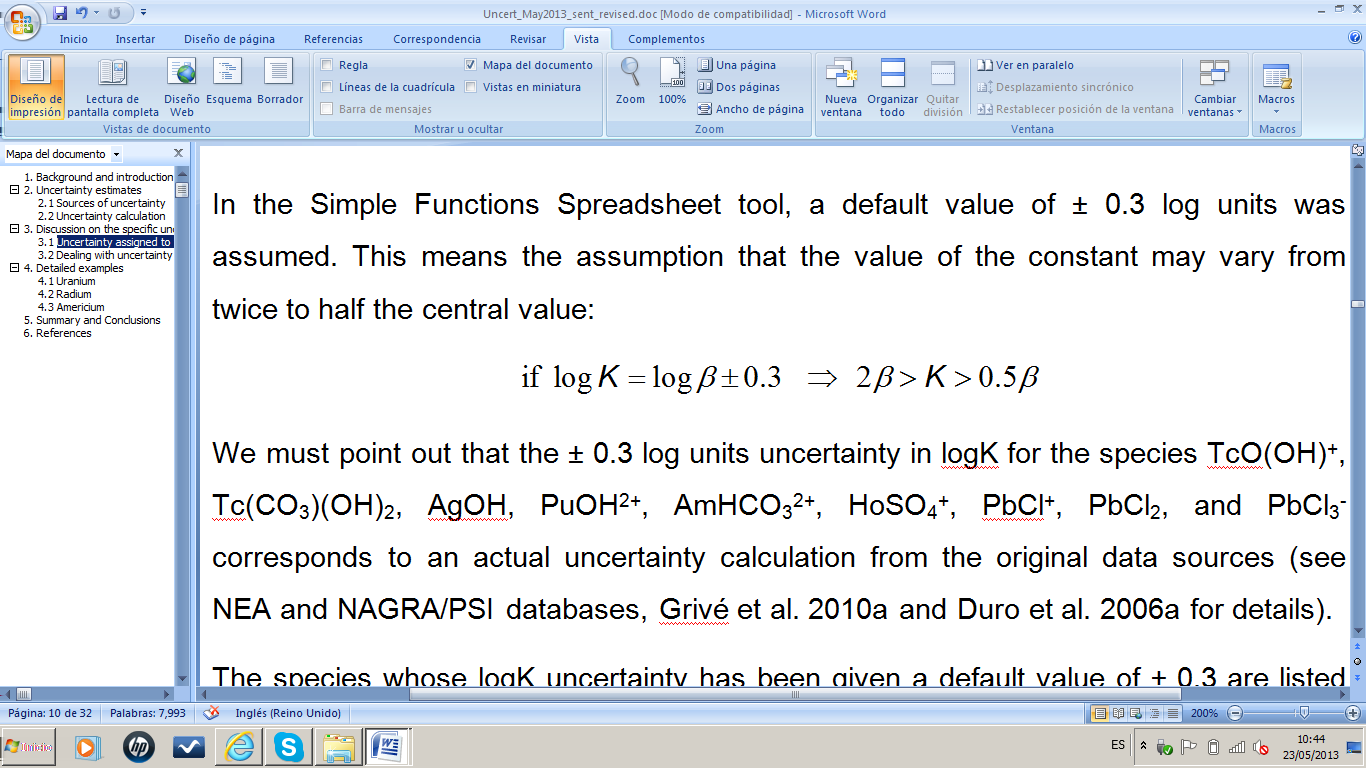 In the Simple Functions Spreadsheet tool, a default value of ± 0.3 log units was assumed.