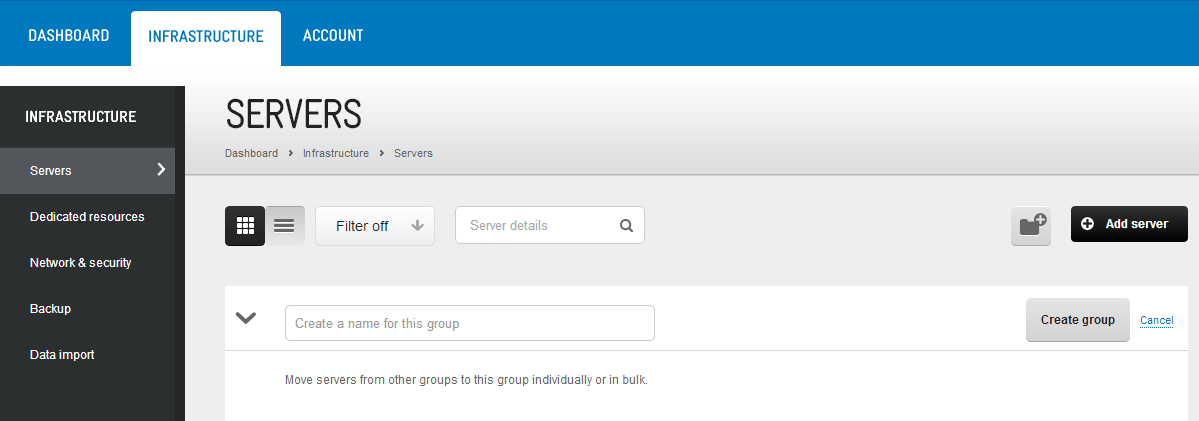 A new empty group is created ready for you to move your servers into it. MOVE SERVERS TO A GROUP Move individual or multiple servers to an existing group.