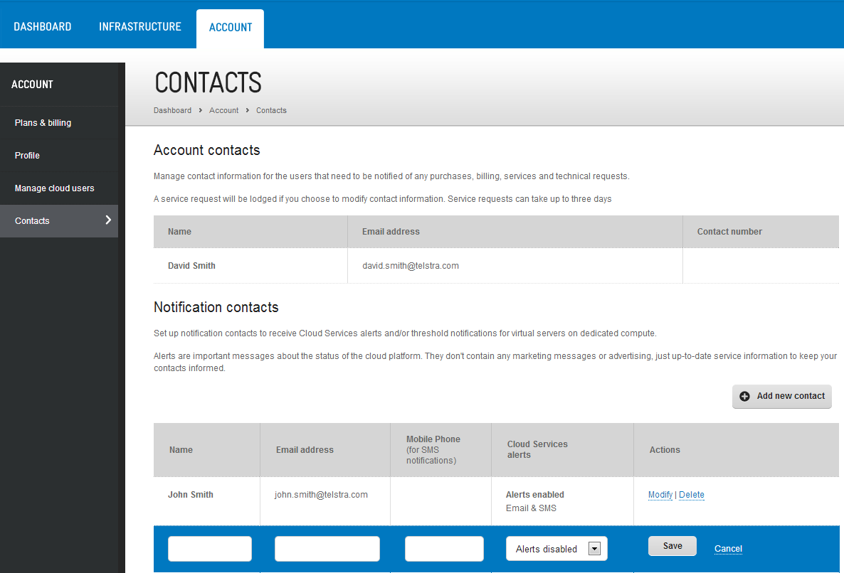 ASSIGN A CONTACT TO A SERVER The next step is to assign (add) contacts to your servers and set the notification frequency. Contacts are assigned to servers and performance indicators one at a time.