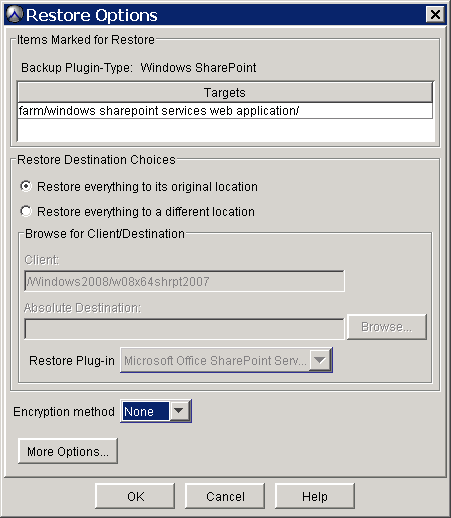 Select the Restore type, either Overwrite or New.
