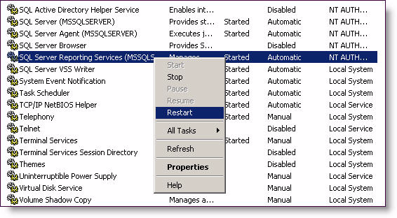 11 Select Server Status in the left-hand pane. Click Start.