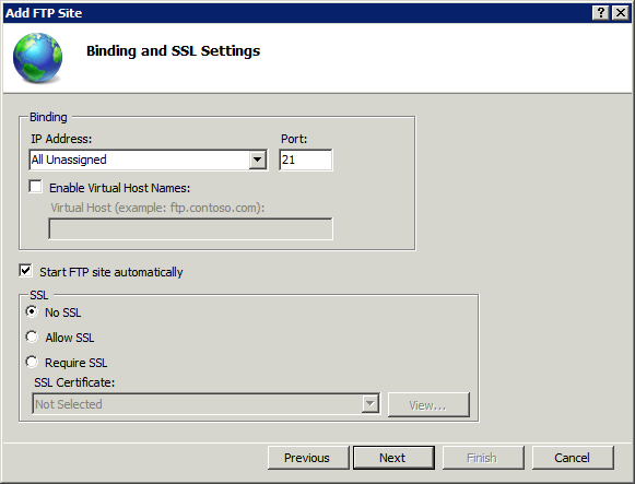 On this step specify FTP site bindings and select No SSL required to use FTP protocol rather than FTPS.