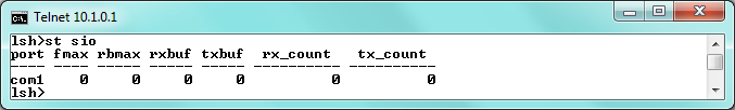 st net6 st net6 command displays present IPv6 network states of all sessions. st sio Figure 6-5 st net6 command st sio command displays the number of bytes for the serial port.