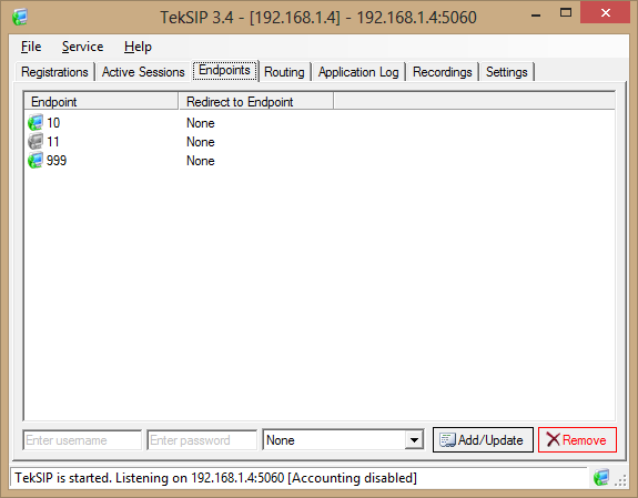 Figure - 2. TekSIP Configuration If you choose to use TekSIP with Authentication Enabled, you need to define SIP endpoints in Endpoints tab. TekIVR Settings Figure - 2.